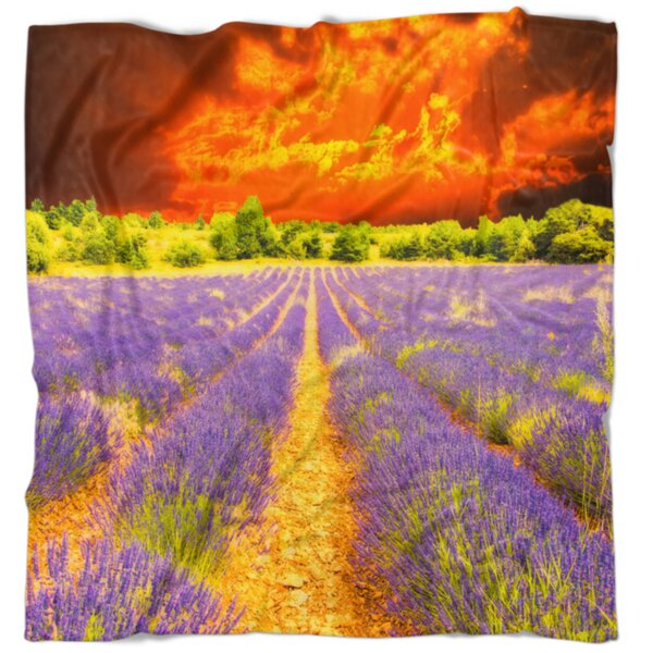 East Urban Home Floral Beautiful Lavender Field And Sunset Blanket Wayfair