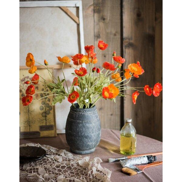 Gracie Oaks Silk Flower Common Poppy Spray Reviews Wayfair