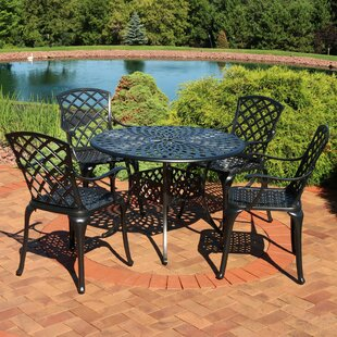 Middlewich Patio Cast Aluminum 5 Piece Dining Set