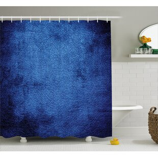 Cateline Dark Blue Contemporary Shower Curtain + Hooks