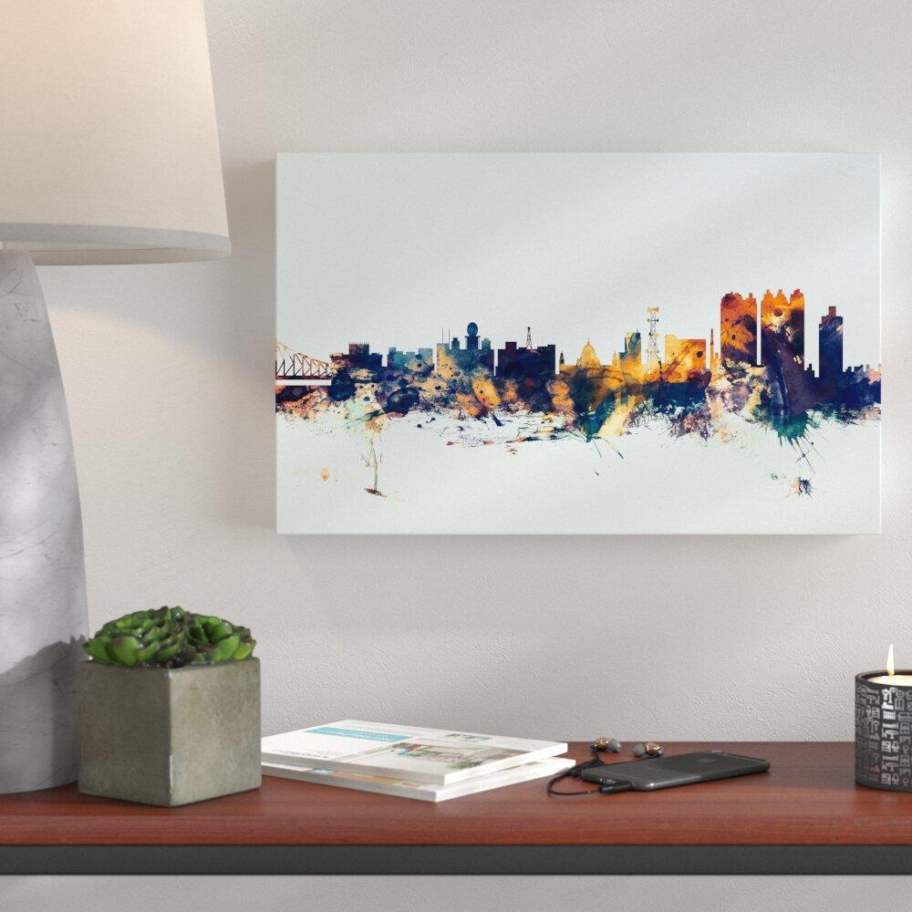 Bronx Blue Bedroom Project: Ivy Bronx 'Calcutta India Skyline Blue' Graphic Art On