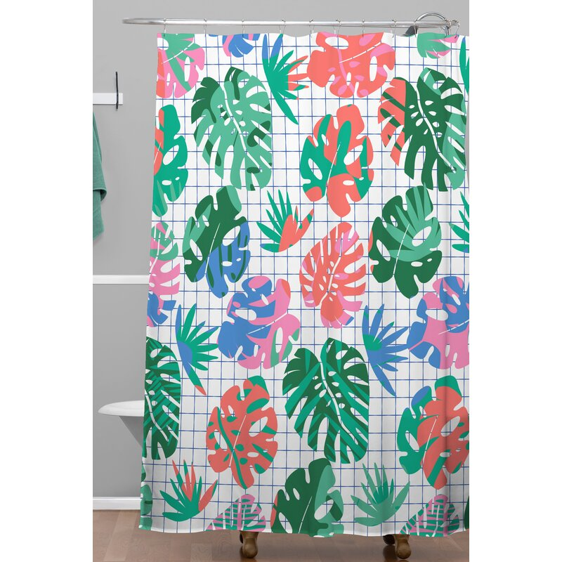 Zoe Wodarz Tropical Grid Shower Curtain