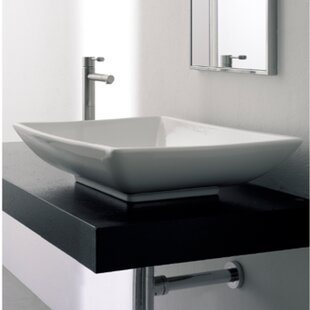 Inexpensive Kylis Ceramic Rectangular Vessel Bathroom Sink with Overflow By Scarabeo by Nameeks