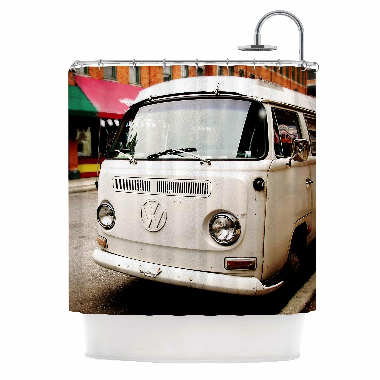 east urban home angie turner vw bus vintage shower curtain wayfair rh wayfair com Gotham Garage VW Bus VW Bus Planter