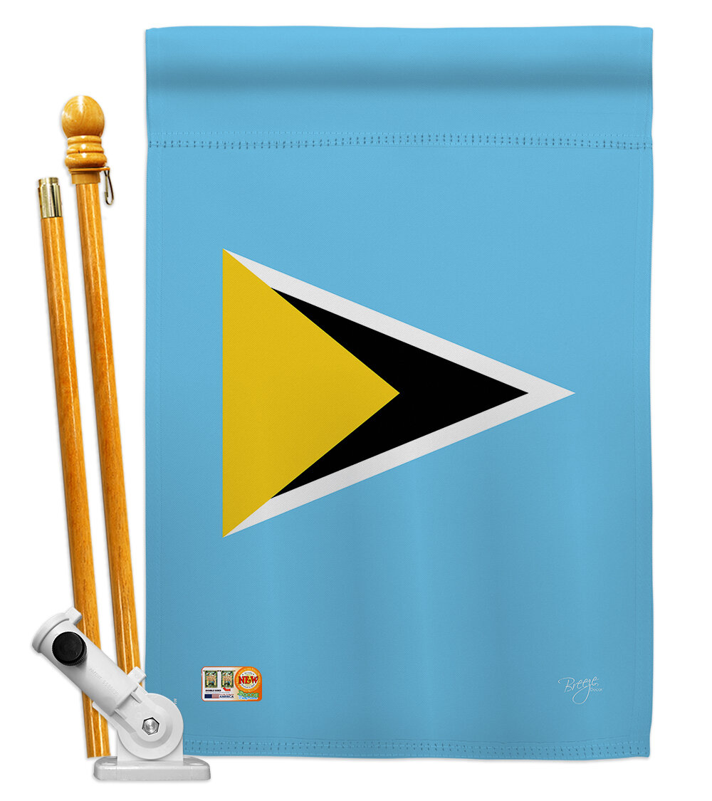 Breeze Decor Saint Lucia Flags Of The World Nationality Impressions Decorative Vertical 2 Sided Polyester 28 X 40 In Flag Set Wayfair