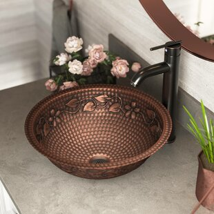 Copper Metal Circular Dual Mount Bathroom Sink With Faucet by MR Direct