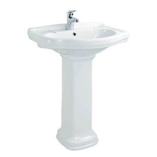 Online Reviews Klassic Ceramic 26 Pedestal Bathroom Sink with Overflow ByWS Bath Collections