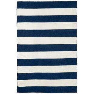 Ranier Stripe Hand-Woven Navy Indoor/Outdoor Area Rug