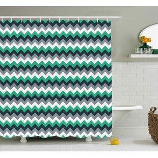 Jeanette Chevron Zig Zag Symmetric Arrows Striped Pattern Single Shower Curtain
