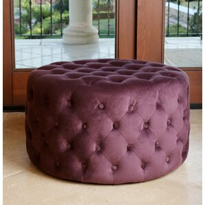 Captivating Kaia Upholstered Ottoman. Blue Ivory Purple