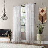 Textured Slub Anti-Dust Striped Sheer Rod Pocket Single Curtain Panel