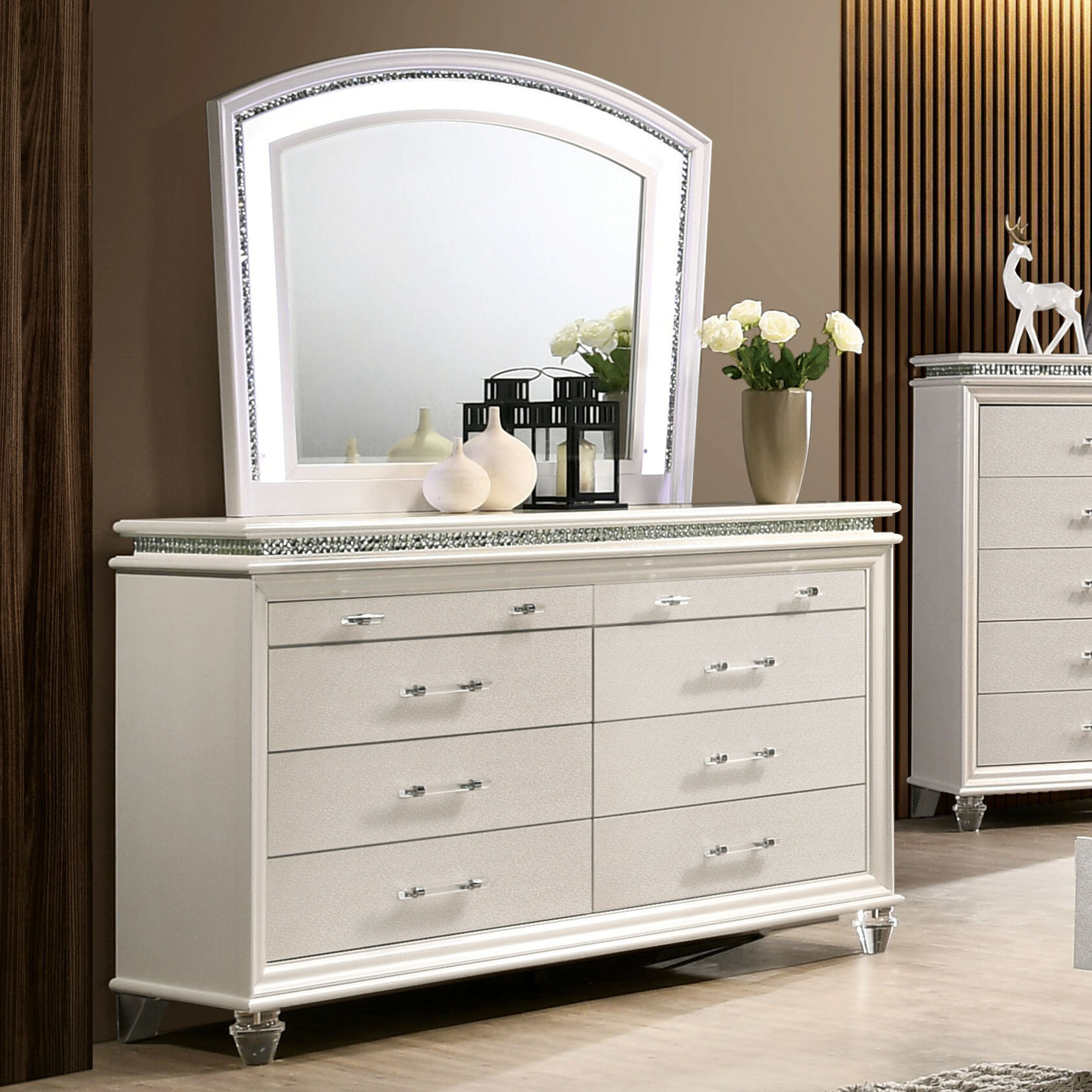 Everly Quinn Serio 8 Drawer Double Dresser With Mirror Reviews Wayfair