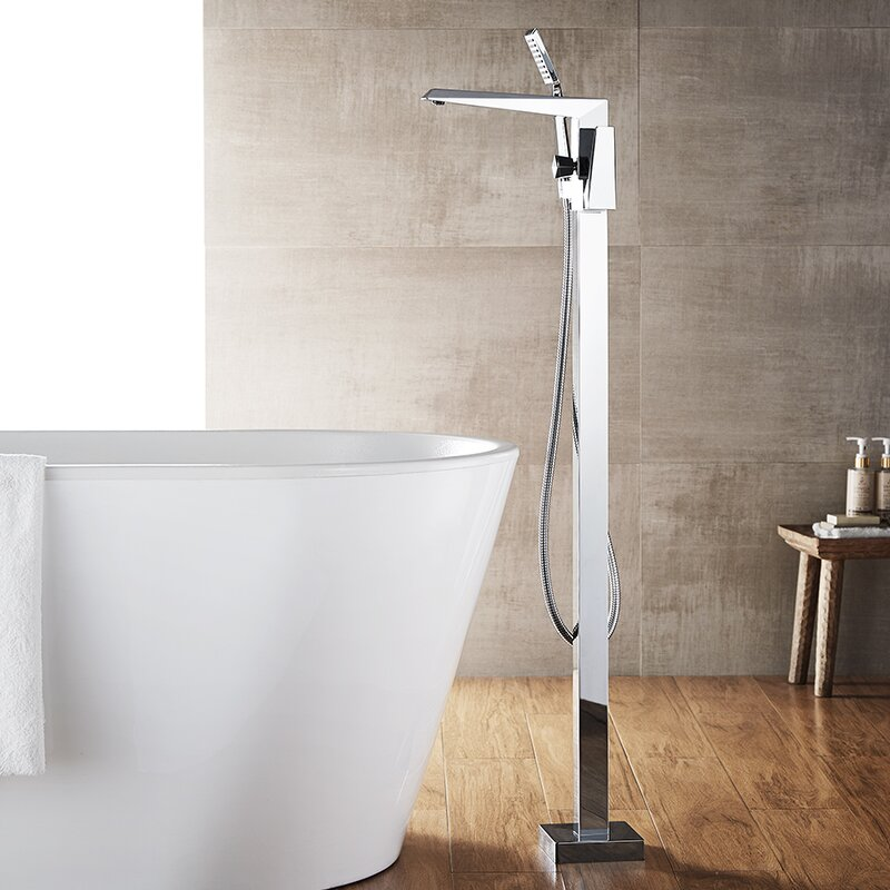 Superieur Cypress Single Handle Floor Mount Freestanding Tub Filler With Hand Shower