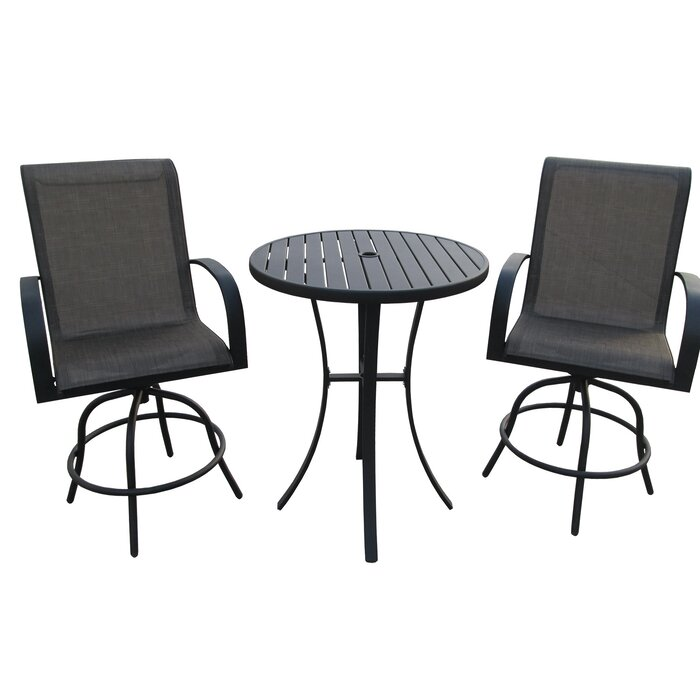 Prime Stjohn 3 Piece Bar Height Swivel Chair Set With Metal Slat Table Evergreenethics Interior Chair Design Evergreenethicsorg