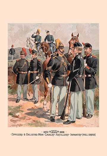 Buyenlarge Officers And Enlisted Men Cavalry Artillery Infantry Full Dress By H A Ogden Painting Print Wayfair