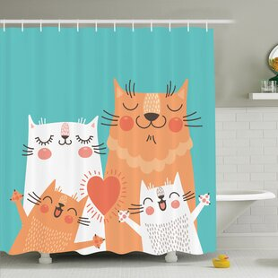Affordable Kids Cute Kitty Couple Happy Shower Curtain Set By Ambesonne