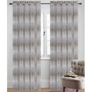 Metro Jacquard Damask Semi-Sheer Rod Pocket Curtain Panels (Set of 2)