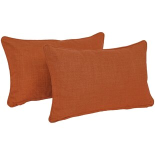 Solid Outdoor Lumbar Pillow (Set of 2)