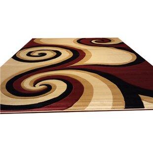 Top Hand-Carved Red/Black/Brown Area Rug ByRug Tycoon