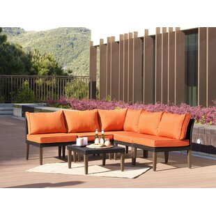 Fenwick Landing 6 Piece Rattan Sectional Set with Cushions