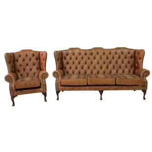 Rosalia Chesterfield 2 Piece Leather Sofa Set By Marlow Home Co.
