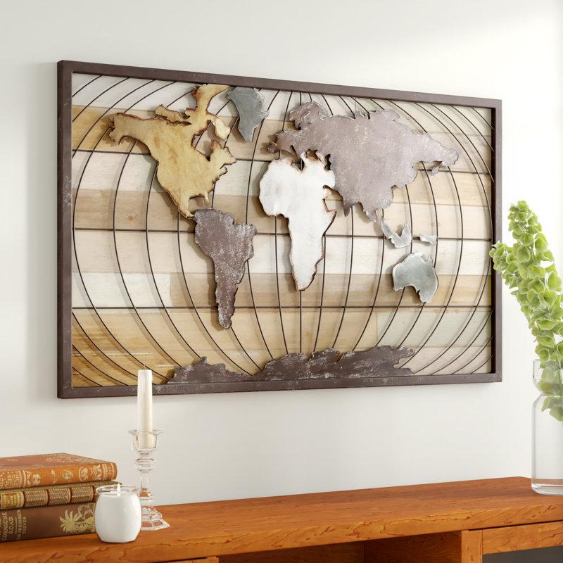 Union Rustic World Map Wall Decor Reviews Wayfair