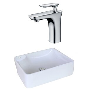 Big Save Ceramic Rectangular Vessel Bathroom Sink with Faucet and Overflow ByAmerican Imaginations