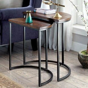 Logue Industrial 2 Piece Nesting Table Set by 17 Stories Great price