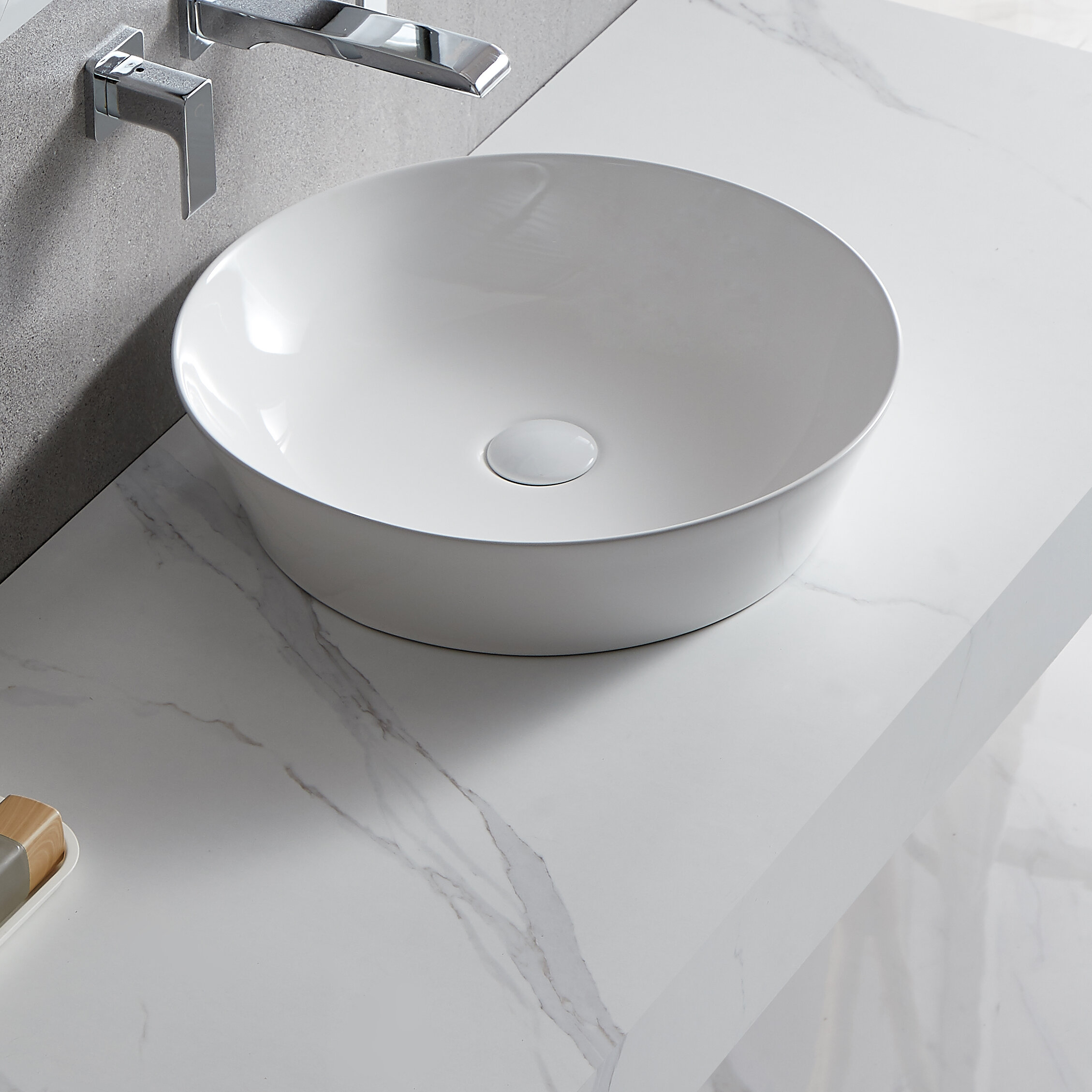 Jingzhong Llc White Ceramic Circular Vessel Bathroom Sink Wayfair