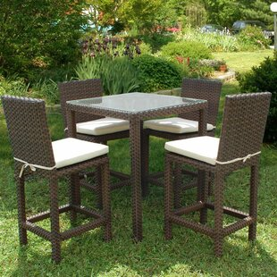 Beachcrest Home Aquia Creek 5 Piece Bar Height Dining Set with Cushion