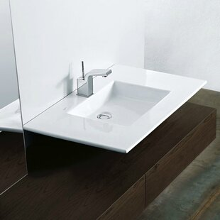 WS Bath Collections Techno Ceramic Rectangular Vessel Bathroom Sink with F..