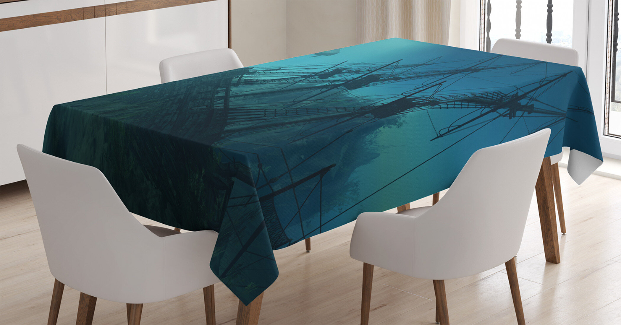 East Urban Home Ambesonne Nautical Tablecloth Dolphins Ruined Wreckage Underwater Sunken Ship Mystery Treasure Rectangular Table Cover For Dining Room Kitchen Decor 60 X 84 Slate Blue Pale Blue Wayfair