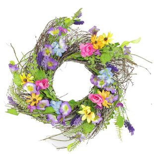 17 Decorative Wild Flower Artificial Spring Floral Wreath by Darice