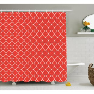 Vaughn Quatrefoil Arabesque Tile Motifs Oriental Royal Floral Petal Pattern Moroccan Print Single Shower Curtain