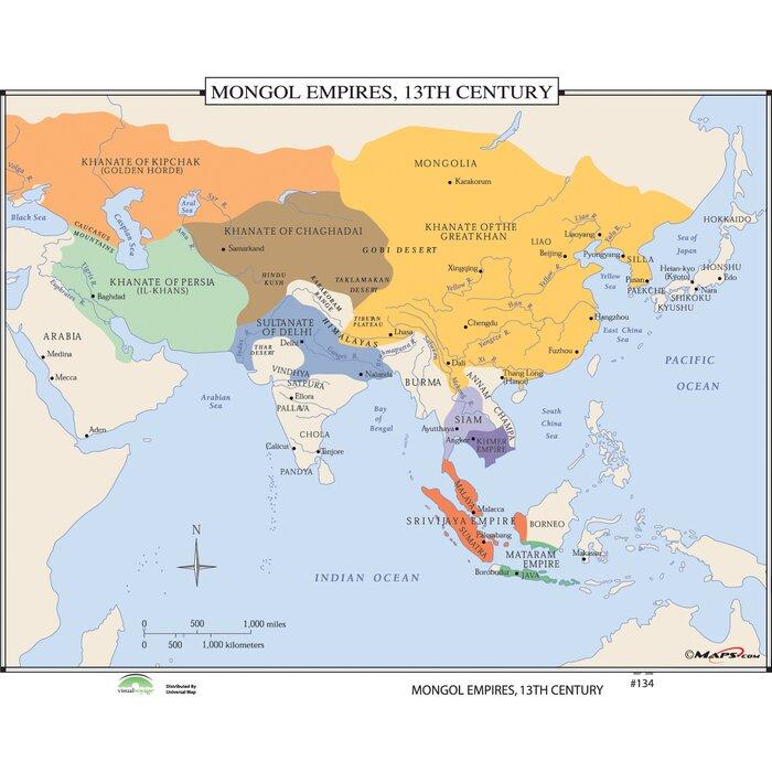 Universal map world history wall maps mongol empires 13th century world history wall maps mongol empires 13th century gumiabroncs Images