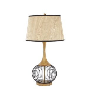 Modern contemporary metal wire table lamp allmodern mckayla 23 table lamp with metal wire cage and faux wood shade greentooth Choice Image