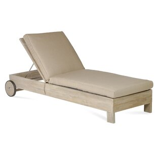 Rosecliff Heights Boykin Teak Chaise Lounge with Cushion