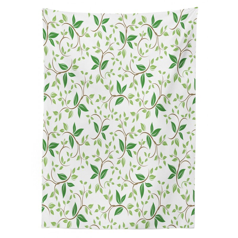 East Urban Home Ambesonne Leaf Tablecloth Ivy Patterns With Tiny Green Leaves Branches Creme Contemporary Illustration Rectangular Table Cover For Dining Room Kitchen Decor 52 X 70 Green Brown Wayfair