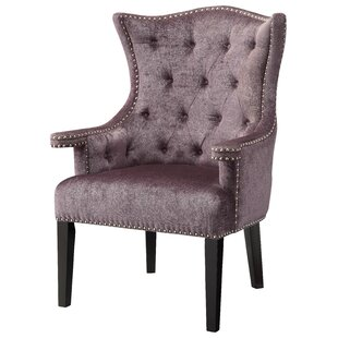 Fifth Avenue Eggplant Velvet Wingback Chair with Nailhead Trim by Crestview Collection