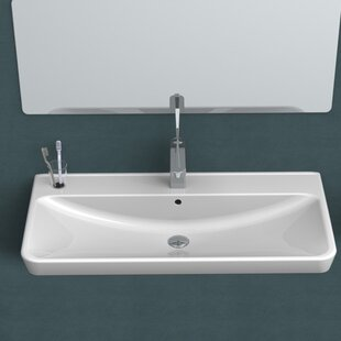 CeraStyle by Nameeks Belo Ceramic Rectangular Drop-In Bathroom Sink with O..