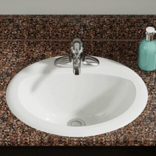 Price comparison Vitreous China Oval Drop-In Bathroom Sink ByPolaris Sinks