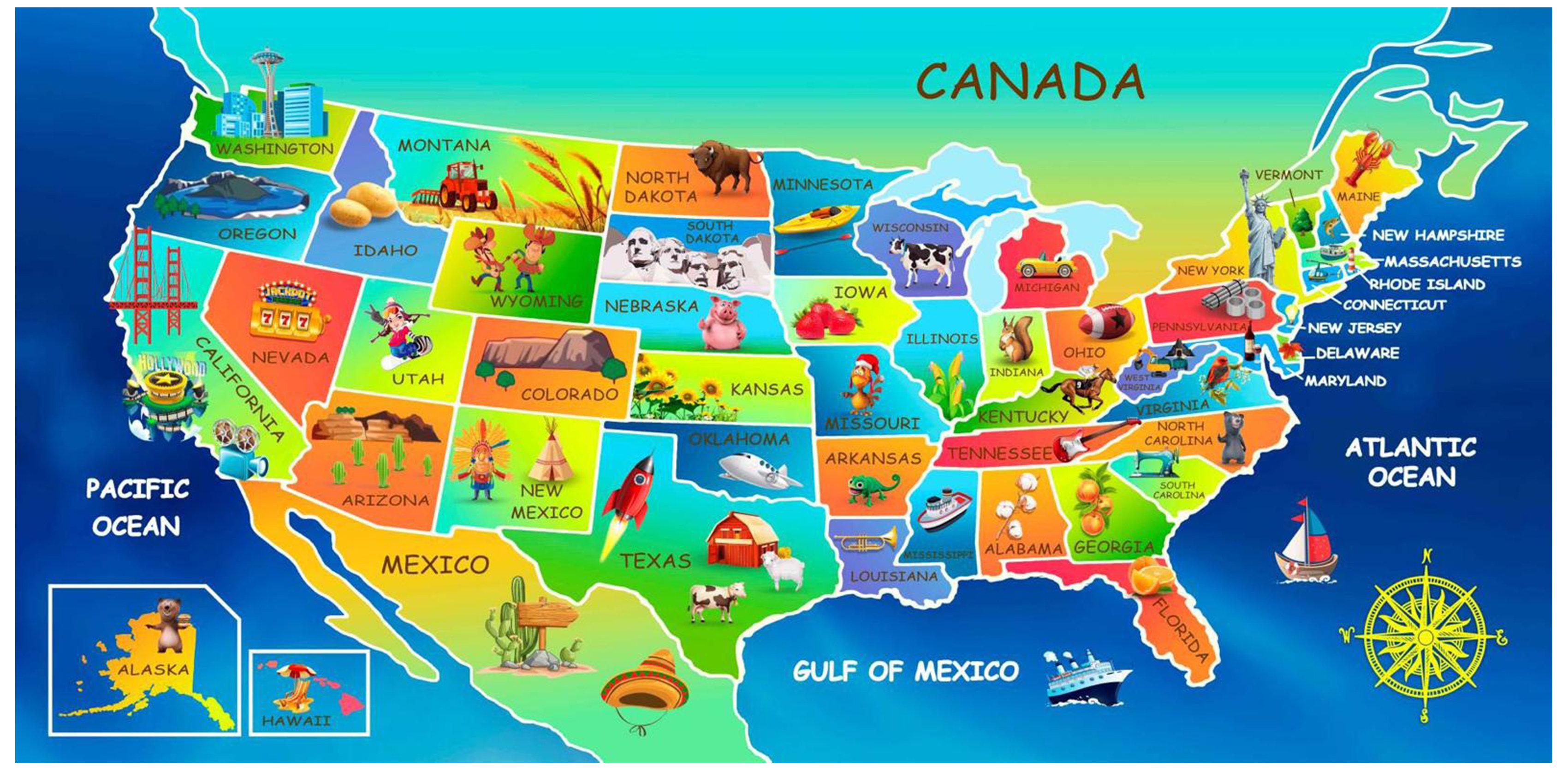 Zoomie Kids Mack Usa Map Educational