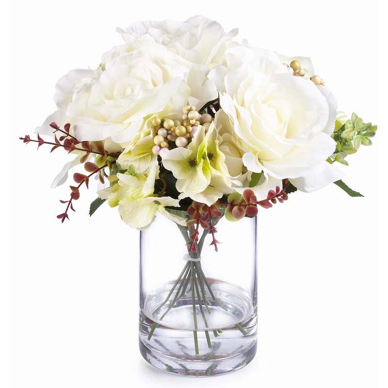 Charlton Home Mixed Silk Flower Arrangement In Vase Wayfair