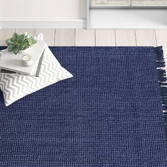 Abdera Handmade Tufted Wool Dark Blue Rug Reviews Joss Main