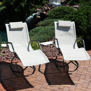 Ebern Designs Chagford Folding Lounger Rocking Chair with Cushions (Set of 2)