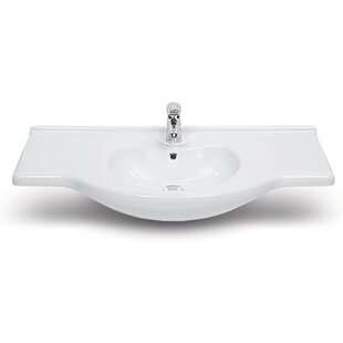 CeraStyle by Nameeks Nil Ceramic Rectangular Drop-In Bathroom Sink with Overflow