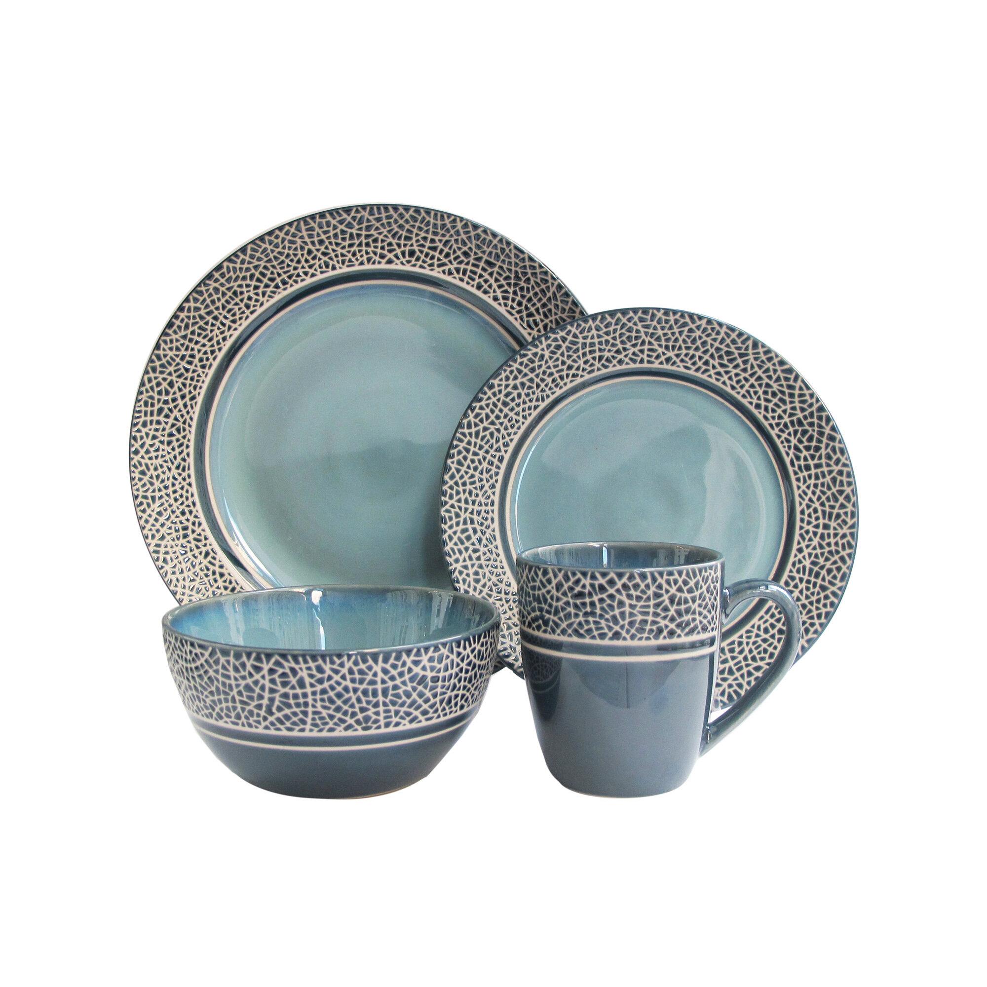 Winston Porter Restormel Mosaic 16 Piece Stoneware Dinnerware Set ...