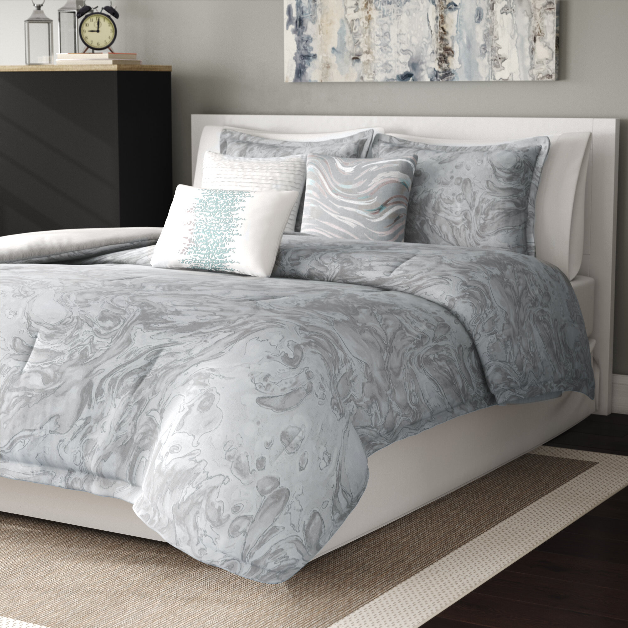 Bed Linens Sets Vintage Sienna Grey And White King Duvet Cover Pillow Set Shabby Chic Style Home Furniture Diy 5050 Pk
