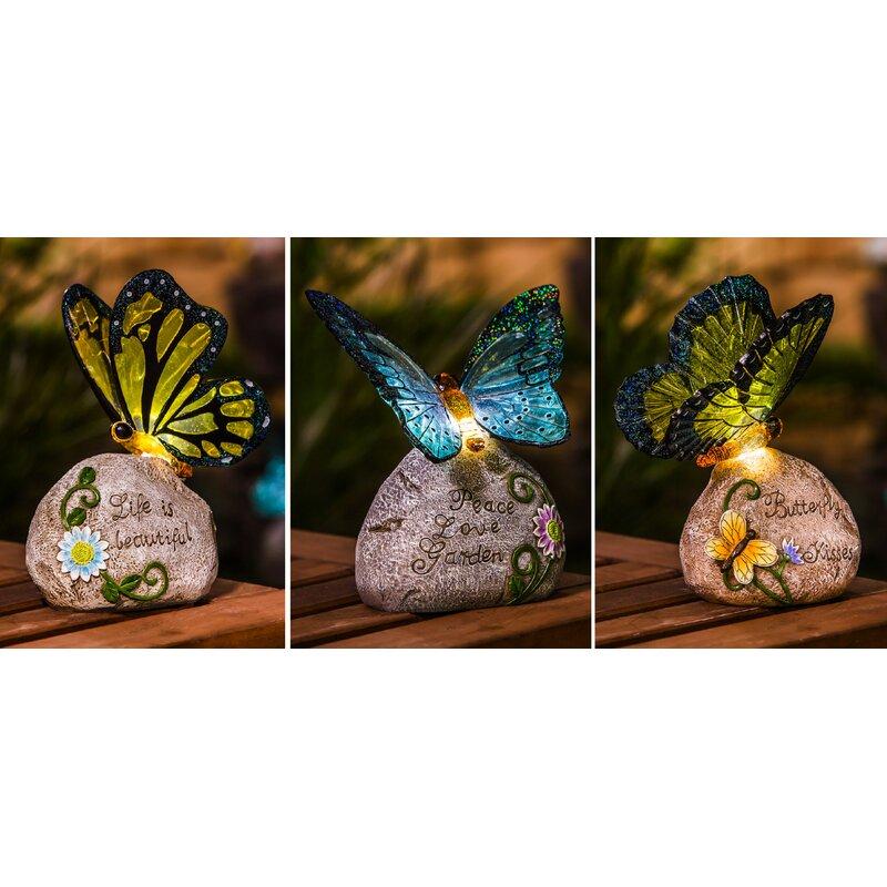 Evergreen Enterprises Inc Solar Erfly Garden Stone Set Reviews Wayfair