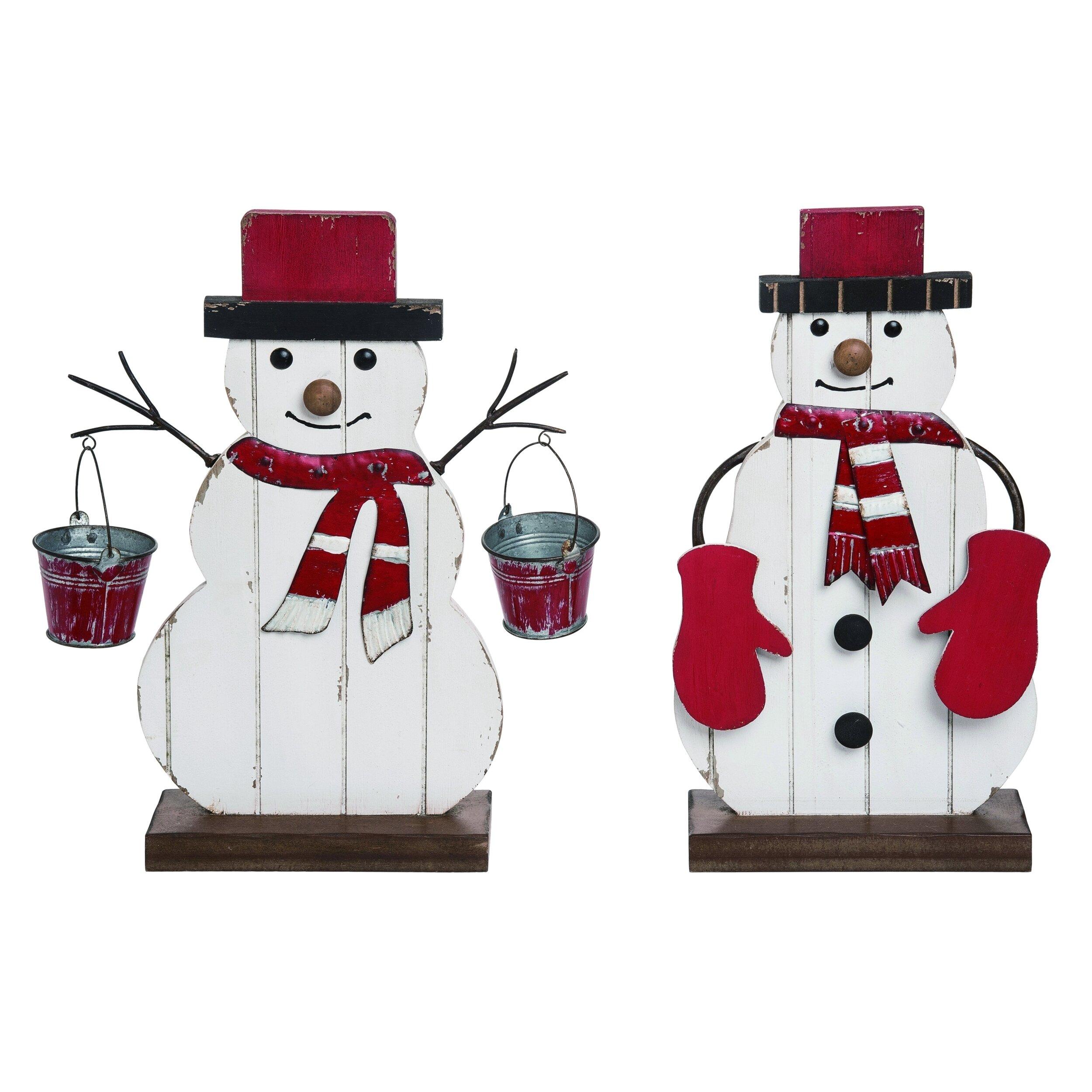 The Holiday Aisle 2 Piece Wood Christmas Panel Snowman Decor Set Wayfair